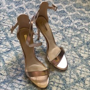 TOPSHOP Rose Gold Ankle Strap Heels UK8/EURO 41